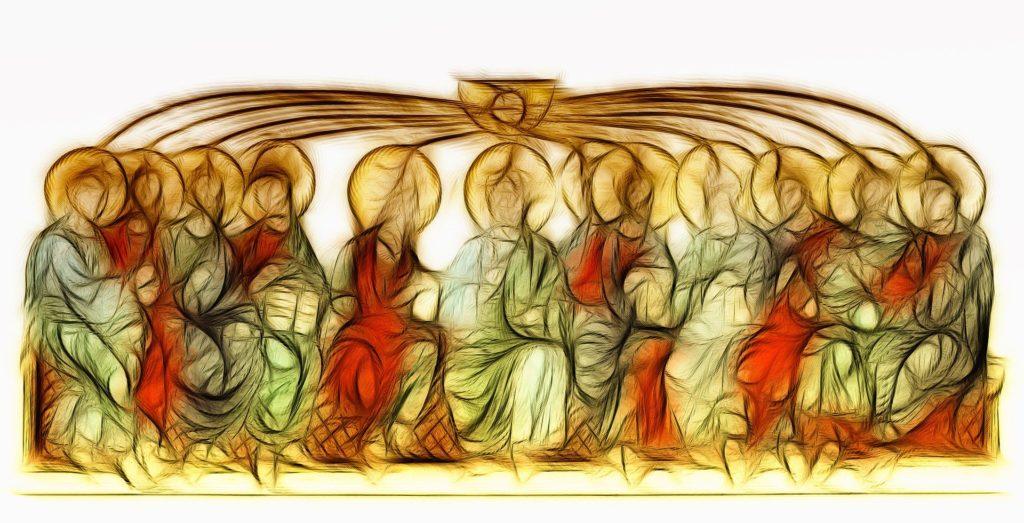 Dessin du St Esprit sur les apôtres